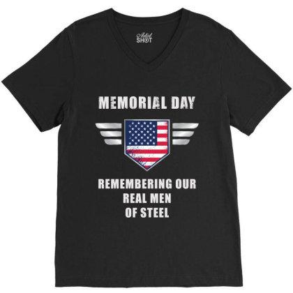 Memorial Day V-neck Tee Designed By Ganeshadesign
