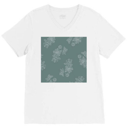 Mint Green Floral V-neck Tee Designed By The Silk Craft
