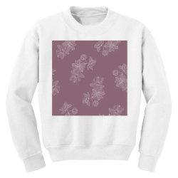 Mauve Floral Youth Sweatshirt   Artistshot