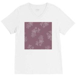 Mauve Floral V-Neck Tee | Artistshot