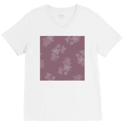 Mauve Floral V-neck Tee Designed By The Silk Craft