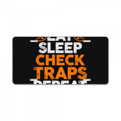 Eat sleep check traps repeat License Plate | Artistshot
