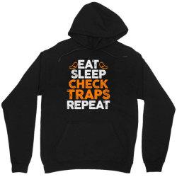 Eat sleep check traps repeat Unisex Hoodie | Artistshot