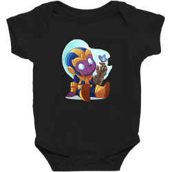 cute baby Thanos (Low Poly Abstract) ZoomOut Effect Baby Bodysuit | Artistshot