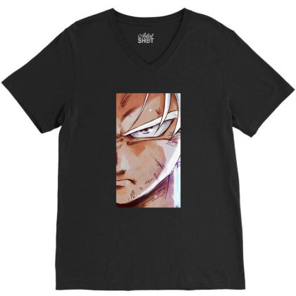 Dragon Ball Z (dbz) Goku (low Poly Abstract) Fanart (zoomout Effect) V-neck Tee Designed By Dc47