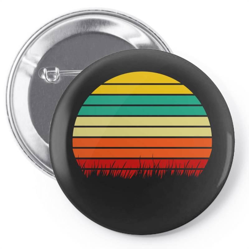 Retro Yellow Orange Sunset Pin-back Button | Artistshot