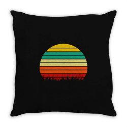 Retro yellow orange sunset Throw Pillow | Artistshot