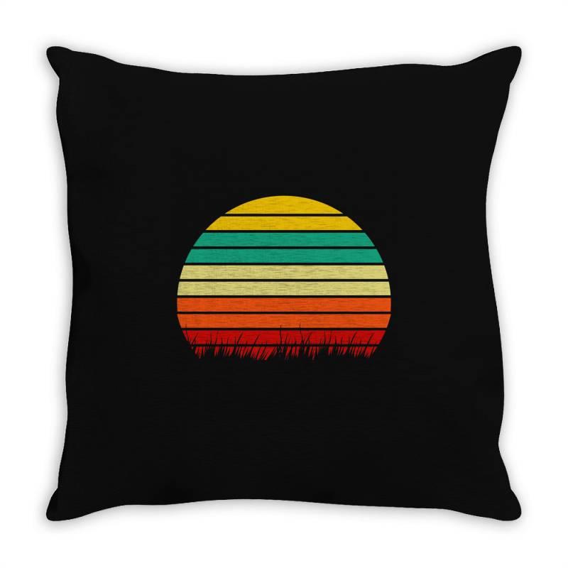 Retro Yellow Orange Sunset Throw Pillow   Artistshot