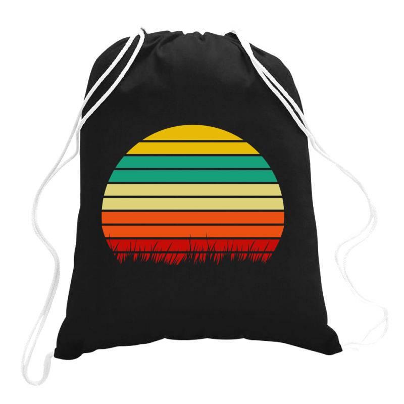Retro Yellow Orange Sunset Drawstring Bags   Artistshot