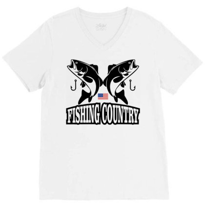 Fishing Country V-neck Tee Designed By Cassavastud