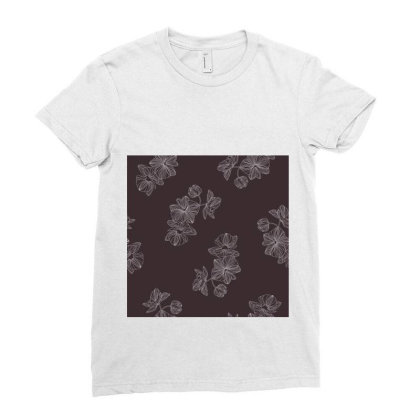 Maroon Floral Ladies Fitted T-shirt Designed By The Silk Craft