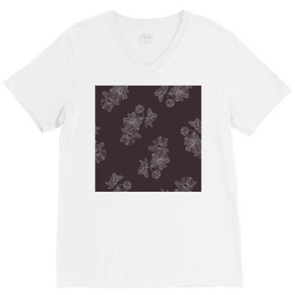 Maroon Floral V-neck Tee Designed By The Silk Craft