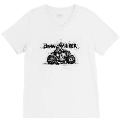 Born Rider V-neck Tee Designed By Lalitcanvas
