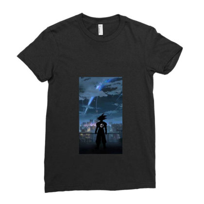 Dragon Ball Z (dbz) Goku (low Poly Abstract) Fanart (zoomout Effect) Ladies Fitted T-shirt Designed By Dc47