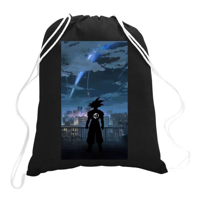 Dragon Ball Z (dbz) Goku (low Poly Abstract) Fanart (zoomout Effect) Drawstring Bags | Artistshot