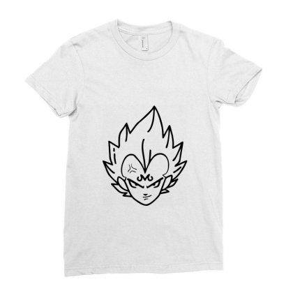 Dragon Ball Z (dbz) Vegeta (low Poly Abstract) Fanart (zoomout Effect) Ladies Fitted T-shirt Designed By Dc47