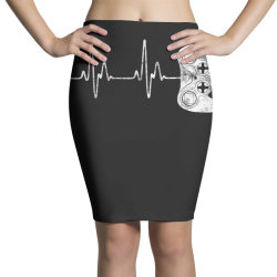 Gamer Heartbeat T-Shirt Video Game Lover Gift Pencil Skirts | Artistshot