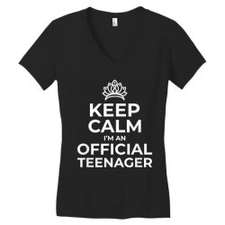 keep calm birthday official teenager Women's V-Neck T-Shirt | Artistshot