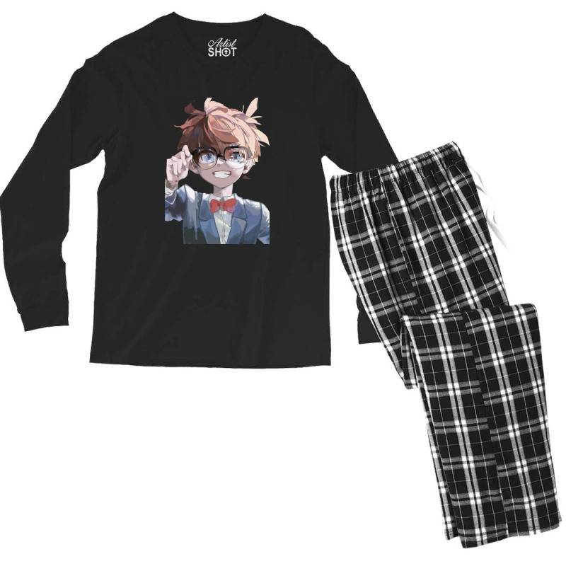 Detective Conan (low Poly Abstract) (zoomout Effect) Men's Long Sleeve Pajama Set   Artistshot