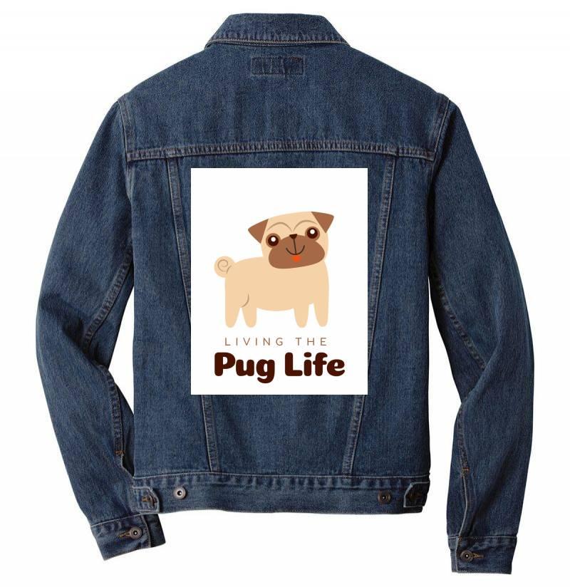 Living The Pug Life Men Denim Jacket   Artistshot