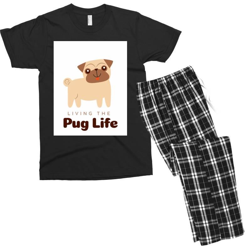 Living The Pug Life Men's T-shirt Pajama Set   Artistshot
