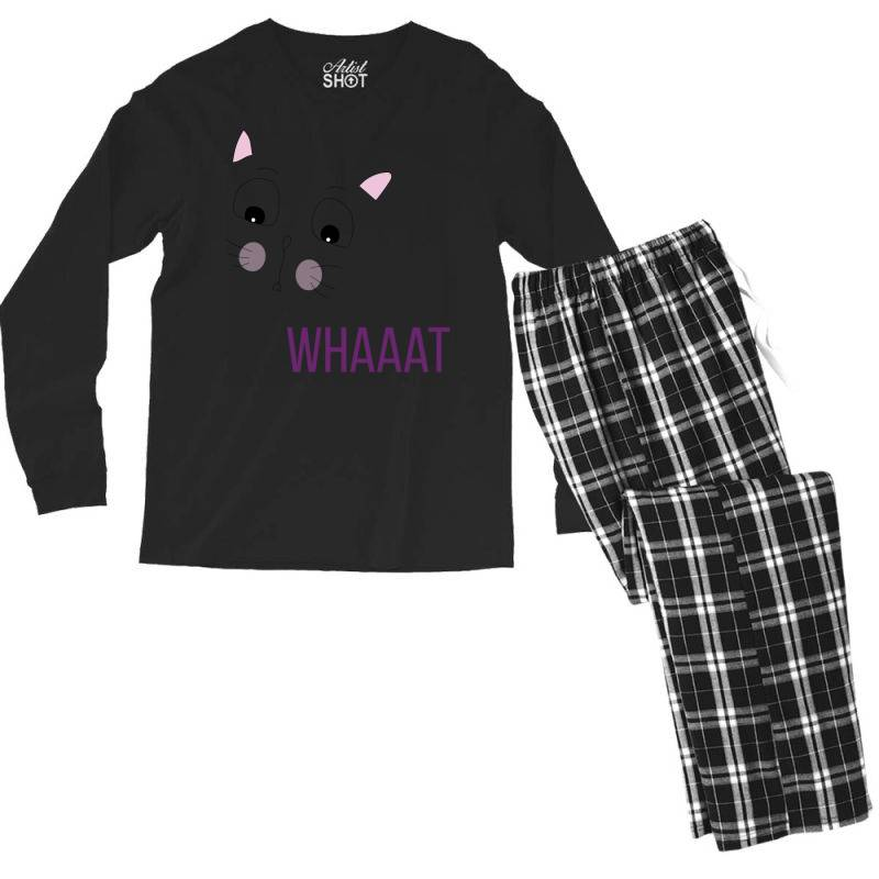 Cat Whaaat Men's Long Sleeve Pajama Set | Artistshot