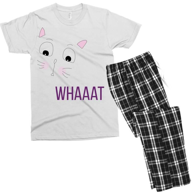 Cat Whaaat Men's T-shirt Pajama Set   Artistshot