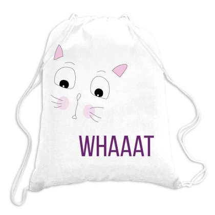 Cat Whaaat Drawstring Bags Designed By Littlethingsbydessy