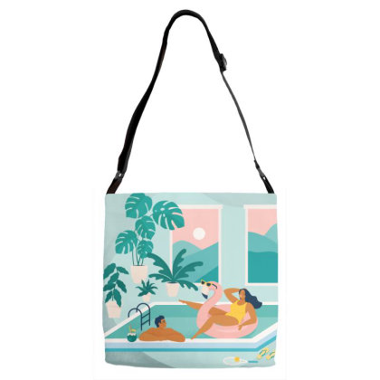 Couple Spend Summer Vacation At Swimming Pool During Quarantine. Adjustable Strap Totes Designed By Angelina Bambina