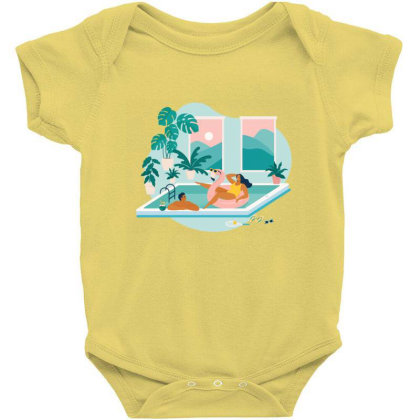 Couple Spend Summer Vacation At Swimming Pool During Quarantine. Baby Bodysuit Designed By Angelina Bambina