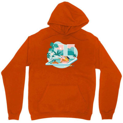 Couple Spend Summer Vacation At Swimming Pool During Quarantine. Unisex Hoodie