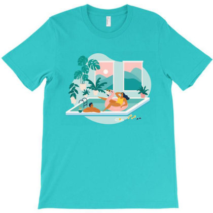 Couple Spend Summer Vacation At Swimming Pool During Quarantine. T-shirt Designed By Angelina Bambina