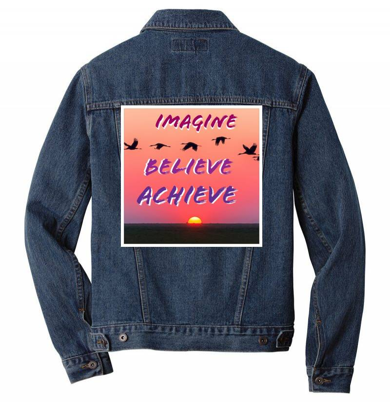 Imagine Believe Achieve Men Denim Jacket | Artistshot