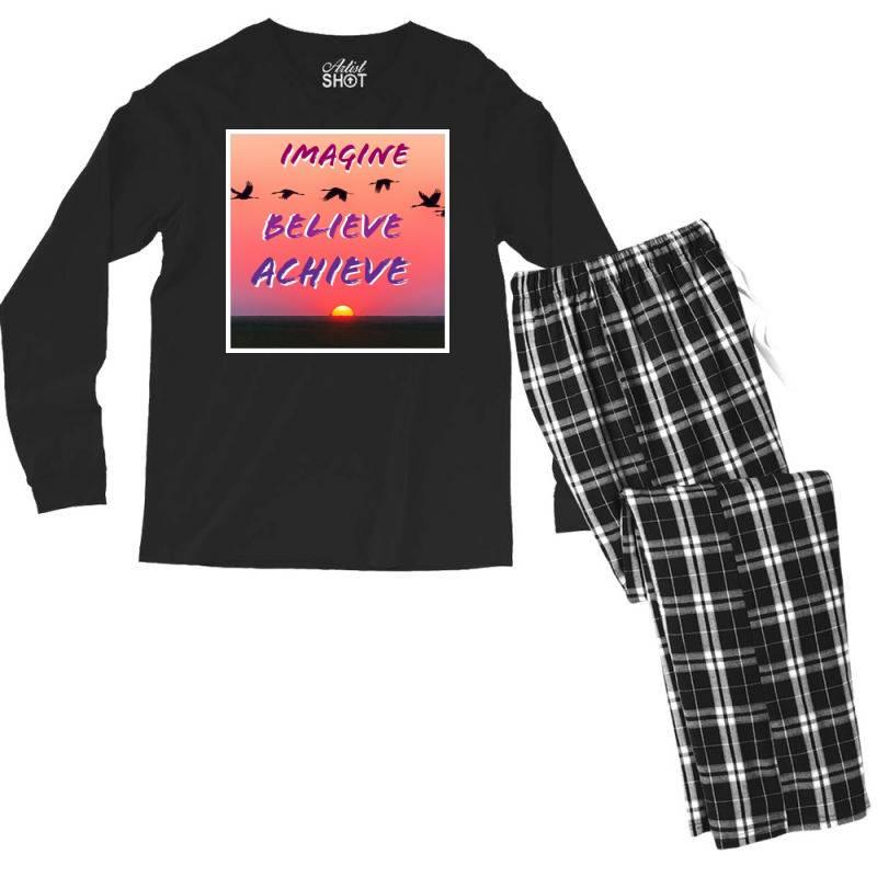 Imagine Believe Achieve Men's Long Sleeve Pajama Set | Artistshot
