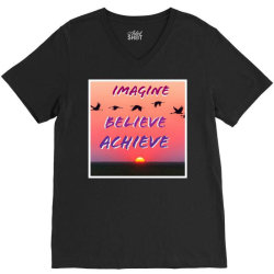 Imagine Believe Achieve V-Neck Tee | Artistshot