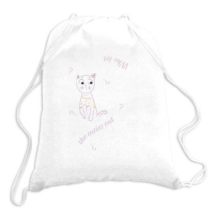 Cat Tshirt Drawstring Bags Designed By Littlethingsbydessy
