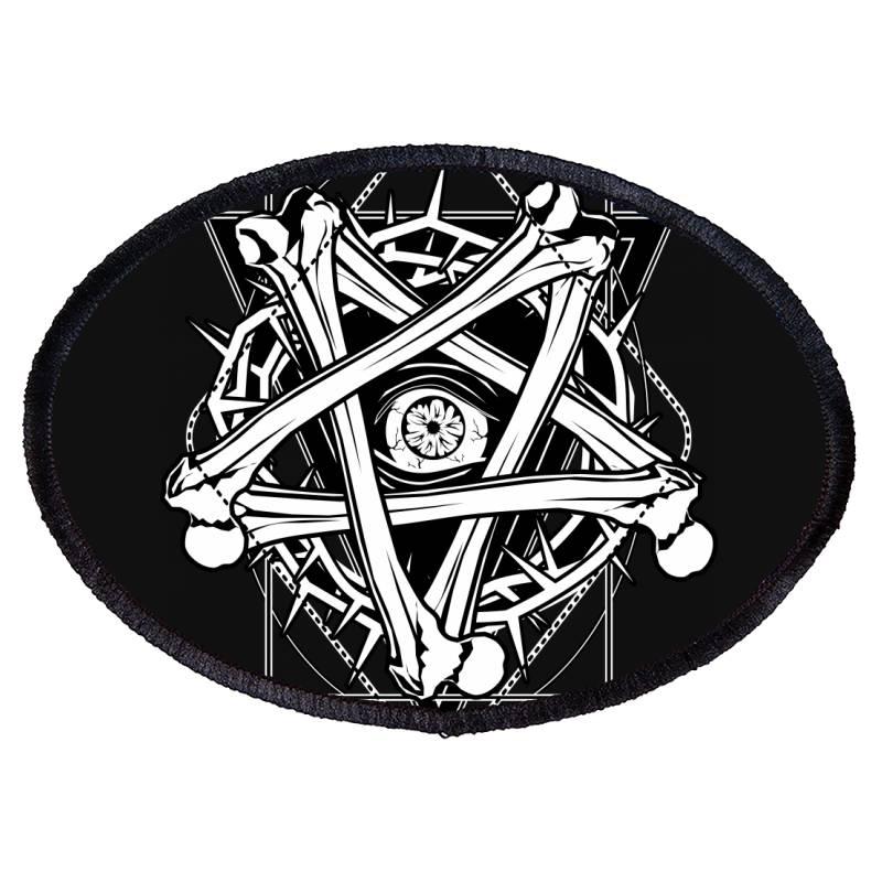 Inverted Bonetagram Oval Patch   Artistshot