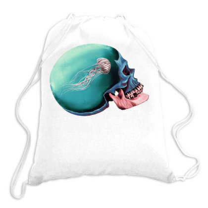 Jellyfsh - Skull Two Color Drawstring Bags Designed By Sketchfunart