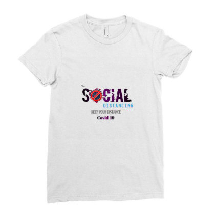 Social Distancing Ladies Fitted T-shirt Designed By Imjamil
