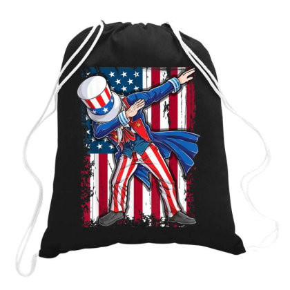 Dabbing Uncle Sam T Shirt 4th Of July Drawstring Bags Designed By Conco335@gmail.com
