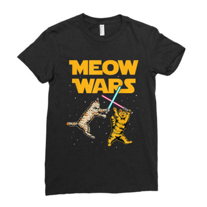 Meow Wars Funny Cat Lover Gift Ladies Fitted T-shirt Designed By Conco335@gmail.com
