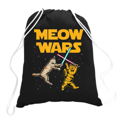 Meow Wars Funny Cat Lover Gift Drawstring Bags Designed By Conco335@gmail.com