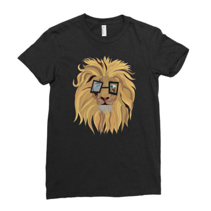 Innocent Lion Ladies Fitted T-shirt Designed By Rococodesigns