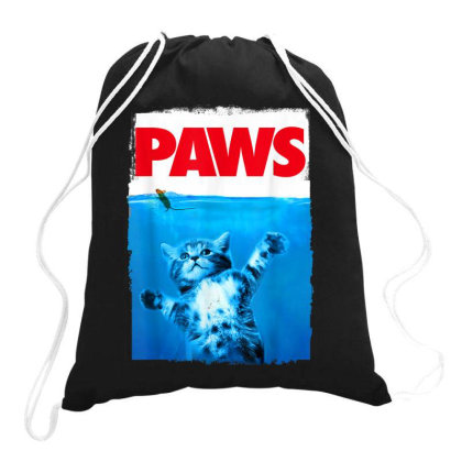 Paws Cat And Mouse Top, Cute Funny Cat Lover Parody Top Drawstring Bags Designed By Conco335@gmail.com