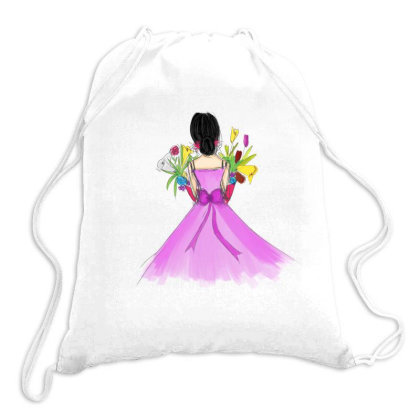 Girl In A Pink Drawstring Bags Designed By Q & T