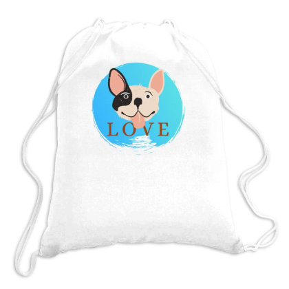 Love Dog Happy Drawstring Bags Designed By Wavi