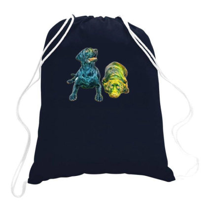 Two One Year Old Labrador Retgainst A White B Drawstring Bags Designed By Kemnabi