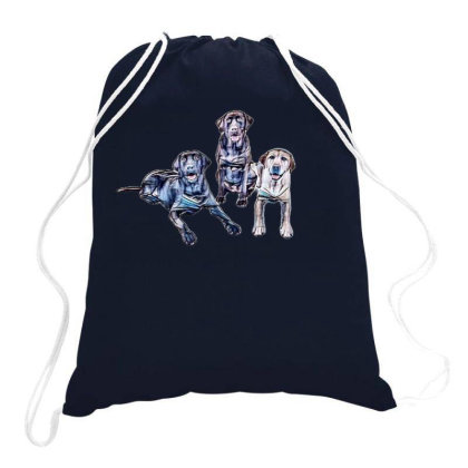Three Labrador Retriever Dogsagainst A White Backdrop With B Drawstring Bags Designed By Kemnabi