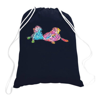 Two Labrador Retriever Dogs Lst A White Backd Drawstring Bags Designed By Kemnabi