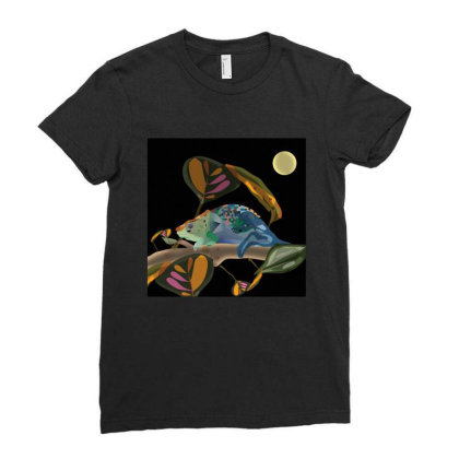 Chameleon Ladies Fitted T-shirt Designed By Rococodesigns